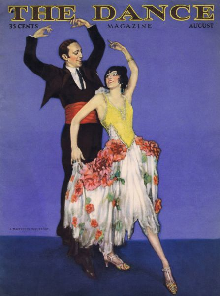 Art deco cover of Dance magazine, August 1926, featuring the dancing act of Fowler and Tamara. Date: 1926