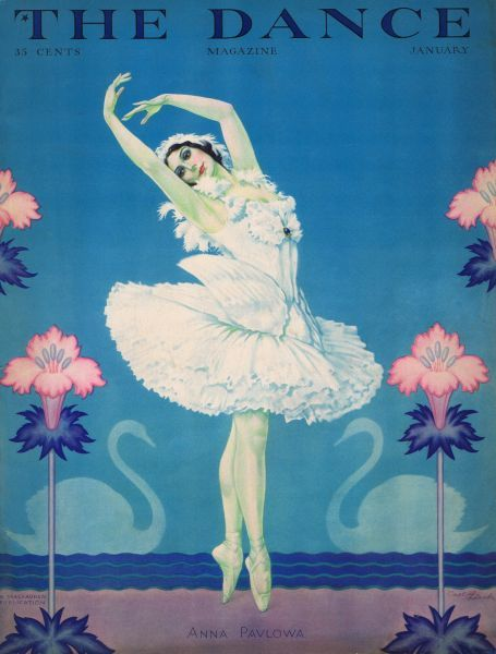 Art deco cover of Dance magazine, January 1929, featuring Anna Pavlova Date: 1929