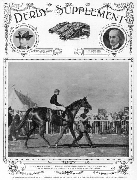 The front cover of the Derby Supplement, with vignettes of Lady James Douglas and Lord Woolavington at the top, and a reproduction of a painting by Alfred Munnings, entitled 'Humorist and Donoghue Going Out for the Derby, 1921&#39