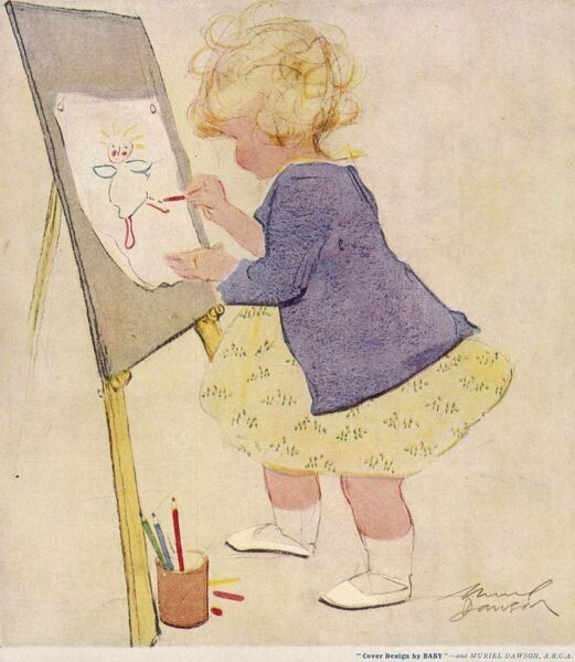 A little girl stands at an easel and draws a very sweet self-portrait with some coloured pencils