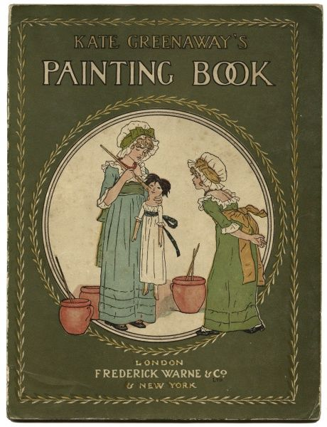 Cover design, Kate Greenaway's Painting Book, with outlines from her various works for boys and girls to paint
