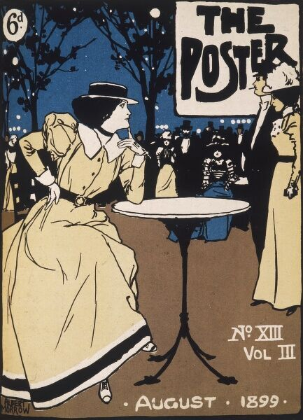 Cover design for The Poster, August 1899, Number XIII, Volume III, price sixpence. A young woman sits at a cafe table watching a couple walk by