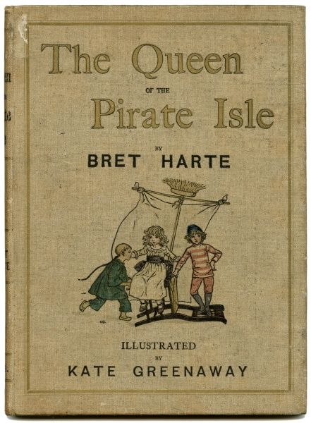 Cover design, The Queen of the Pirate Isle, by Bret Harte, illustrated by Kate Greenaway. Showing three children playing on a makeshift sailing boat constructed with a chair, a sweeping brush and a bed sheet