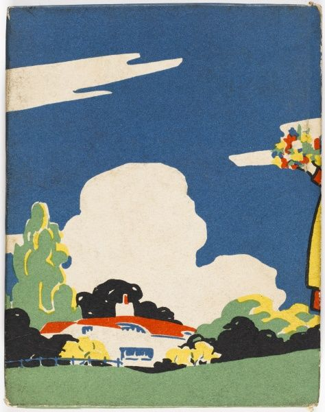 Bold and colourful back cover design showing an art deco style house and garden