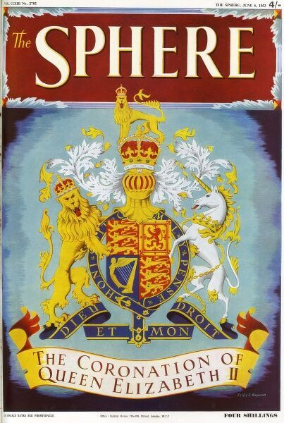 "The Front Cover of the Sphere's Coronation Number, 6 June 193, featuring the royal coat of arms, and a scroll that reads ""The Coronation of Queen Elizabeth II"". Date: 1953"
