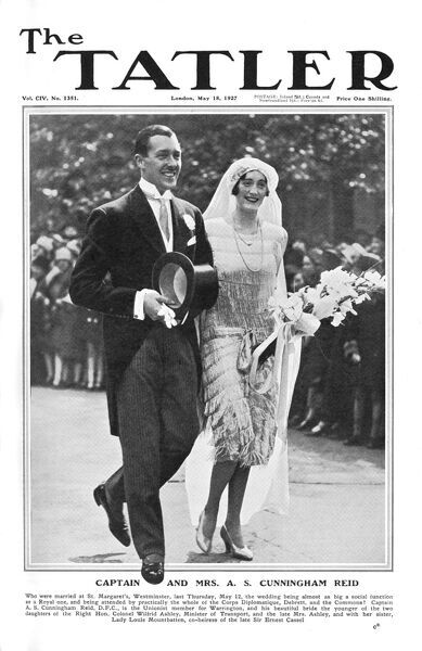 Front cover of The Tatler featuring a photograph of the wedding of World War I flying ace, Captain Alec Cunningham-Reid (1895 - 1977) to Hon. Ruth Mary Clarisse Ashley, daughter of multi-millionaire, Lt-Col Wilfred Ashley (1st Baron Mount Temple)