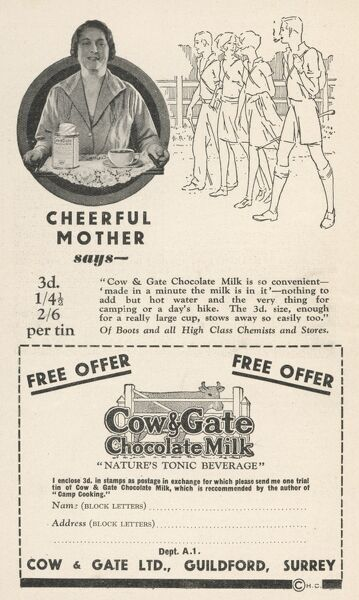 "Advertisement for Cow & Gate Chocolate Milk ""Nature's Tonic Beverage&quot"