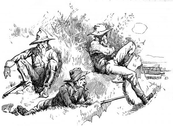 Illustration of several cowboys protecting their ranch from Apache native American Indians. This image was made at the time of the last war between the Apache native American Indians and the United States Army in Southern Arizona and Northern Sonora