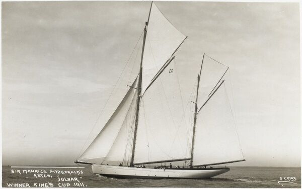 Sir Maurice Fitzgerald's Ketch 'Julmar' - the winner of the King's Cup at Cowes during the Cowes Week Regatta, 1911