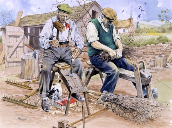 Two craftsmen sit on narrow benches, making besom brooms and wooden rakes. Painting by Malcolm Greensmith