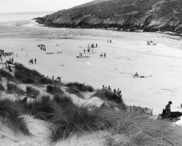 The sand dunes at Crantock beach, Cornwall, England. Date: 1962