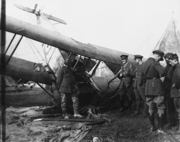 A crashed Avro 504A. One of the most famous biplane trainers, it first appeared in 1913. Used in the opening stages of World War One for bombing and reconnaissance. Date: 1914
