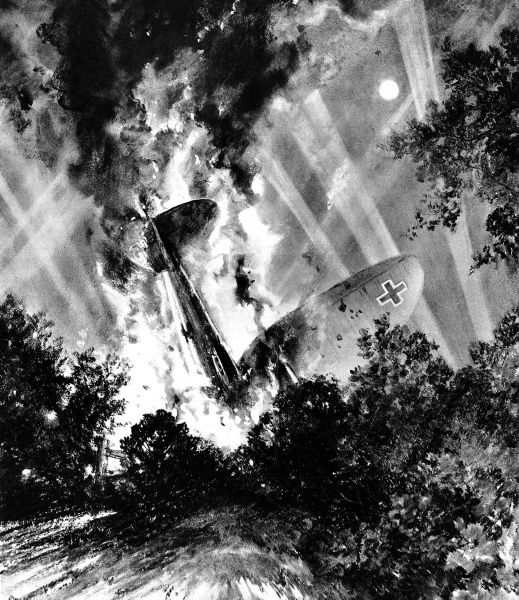 Illustration showing a crashed German Heinkel HE-111 bomber burning in a wood in Essex, 18th June 1940. This bomber had taken part in one of the large air-raids on London and was flying home when it was shot down by anti-aircraft artillery