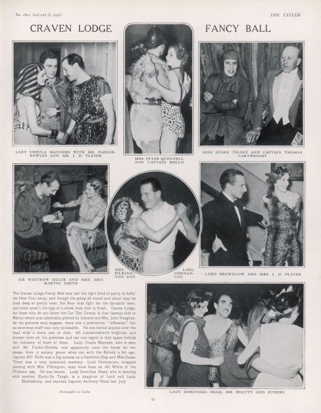 A page from The Tatler, featuring photographs and a report on the Craven Lodge Fancy Ball in Melton, Leicestershire, a New Year party with a prehistoric fancy dress theme
