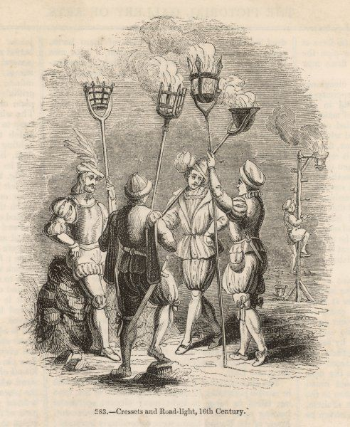 London streets illuminated by lamps of slowly-burning material placed in strategic locations : the nightwatchmen carry cressets using similar technology