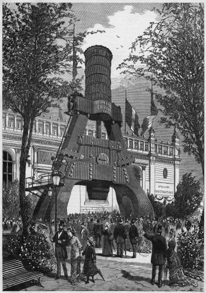 Visitors to the Paris Exposition admire the massive Creusot steam hammer, a fitting symbol of French engineering