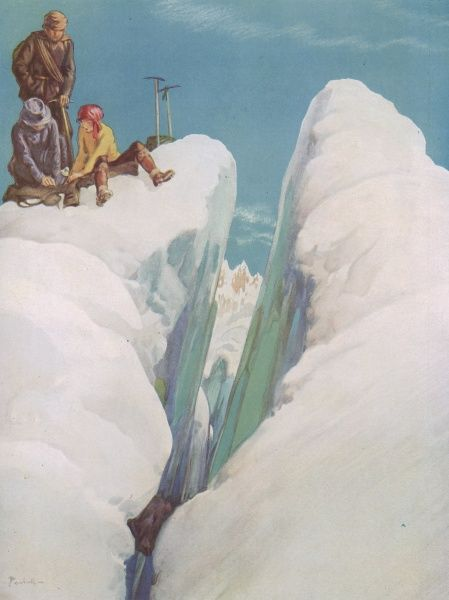 Illustration by Alfred Bestall showing mountain climbers at the edge of a steep crevasse