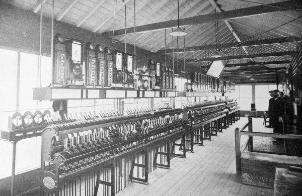 View inside an electric signal box near Crewe Railway Station, Crewe, Cheshire
