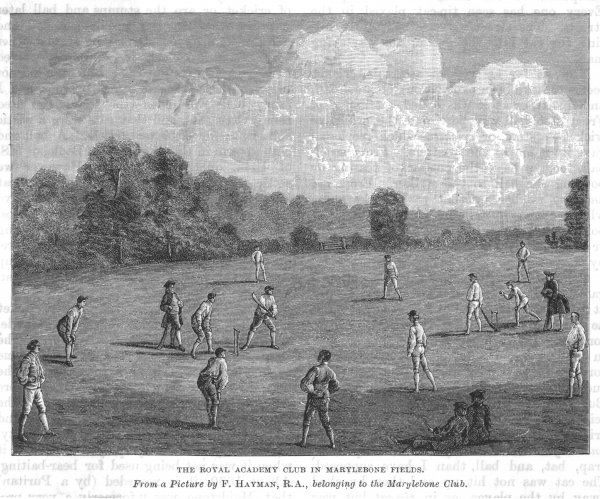 Cricket being played at The Royal Academy Club in Marylebone Fields