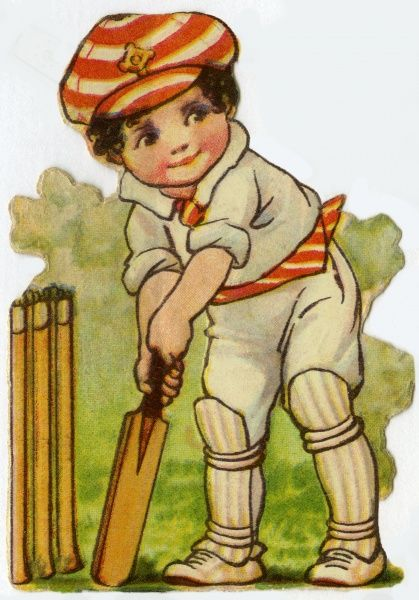Cricket. Artist: Ada Leonora Bowley. A batsman at the crease Date: circa 1920