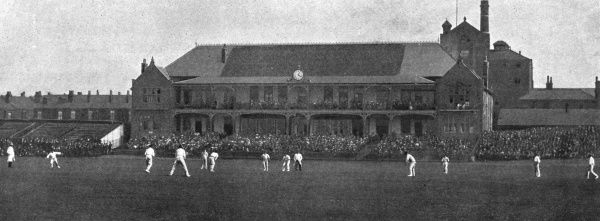 A scene from the County Championship match between Yorkshire and Kent at the Bramall Lane ground in Sheffield, a match won by Yorkshire, who went on to become County champions that season