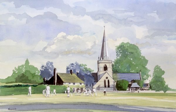 A classic English village scene of cricket played under the watchful gaze of the church steeple. Painting by Malcolm Greensmith