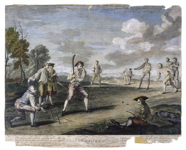 A cricket match at the Artillery Ground, London. The 18th century bat was a longer, heavier, curved version and just one two-stump wicket was used