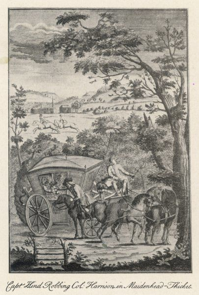 Captain Hind robbing Colonel Harrison's carriage at Maidenhead Thicket