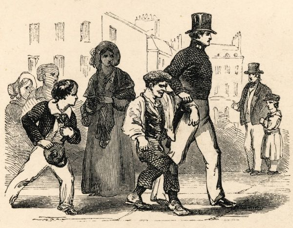 A young offender is dragged away by a policeman to the station-house. He has probably been picking pockets or committing some such misdemeanour