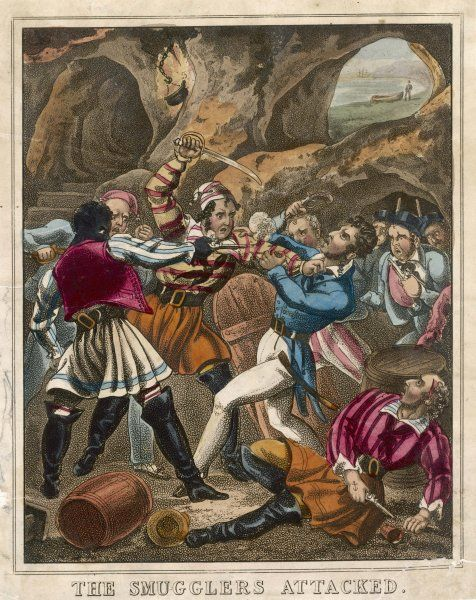 Smugglers on the English coast defend themselves vigorously against an attack by Revenue Men