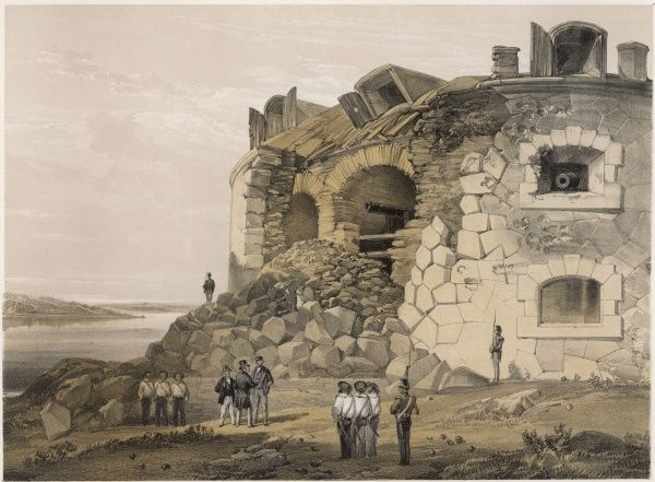 The effects of bombardment at Bomarsund, a Russian fortress in the Baltic