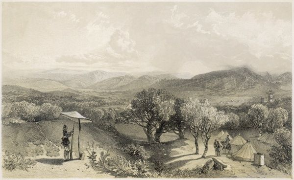 The Valley of Baidar, from the rear Petroski's Villa, looking east, showing the sentry and the camp