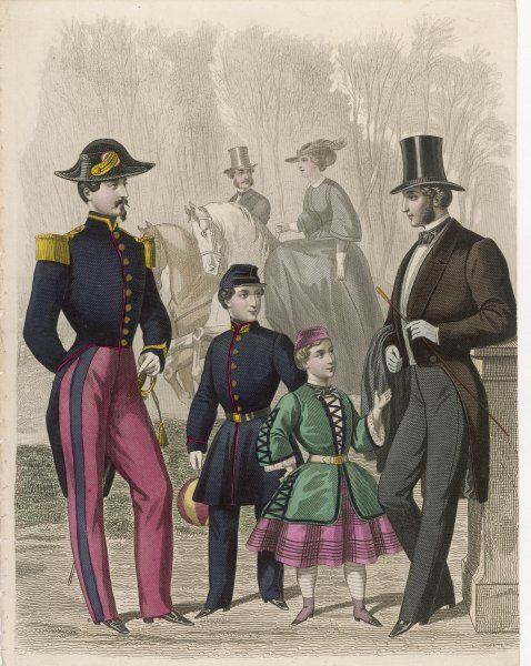 Men: French officer's uniform & day dress clothes. Boys in costumes inspired by the Crimean war: green tunic with pagoda sleeves & braid, red plaid skirt & a brimless hat