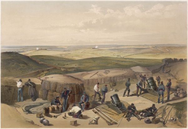 British mortar battery on the heights before Sebastopol, during the Crimea War