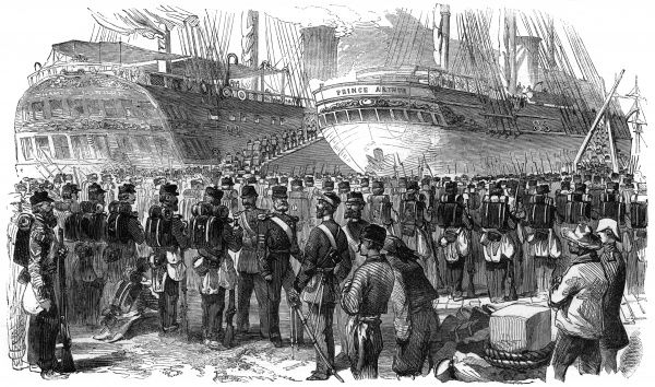 Evacuation of the Crimea. British troops return home. Embarkation of the 34th Regiment. Date: 1856