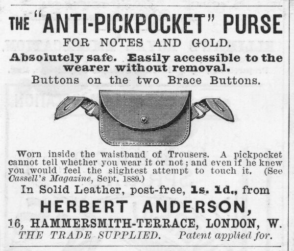 Advertisement for anti- pickpocket purse, worn inside the waistband of trousers