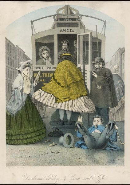 A lady wearing a large crinoline knocks over a man as she attempts to board a London bus. Two ladies in bonnets look on in amazement. Title: ' Cause and Effect &#39