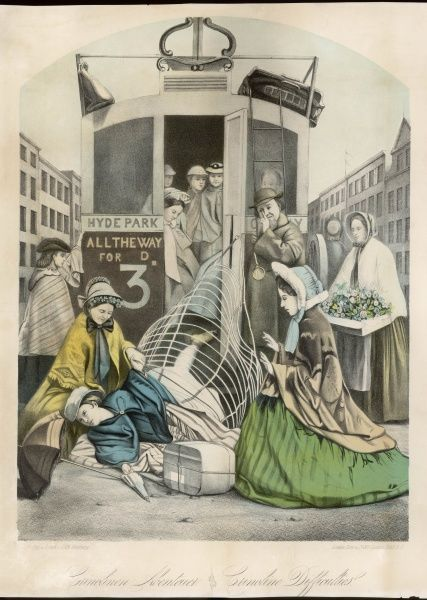 A lady falls dramatically onto the road having had trouble in squeezing her crinoline through the tight entrance of a London bus. Print title: ' Crinoline Difficulties &#39