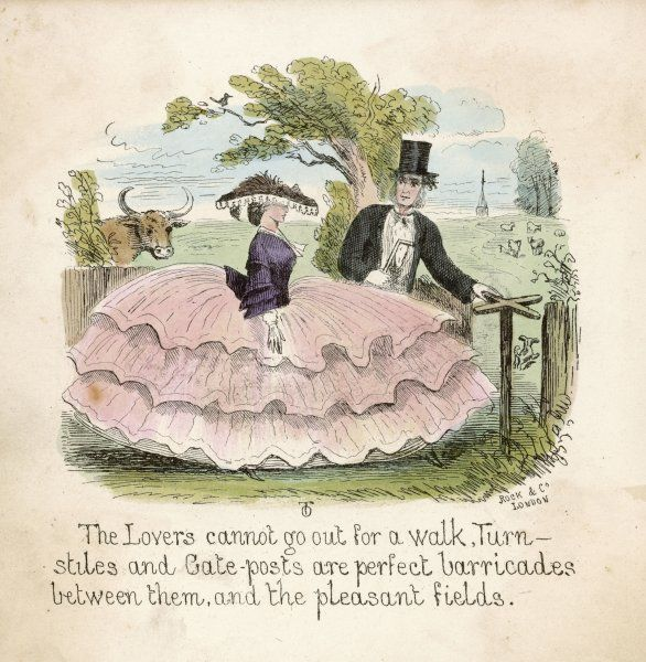 Kitty & Adolphus attempt a country walk but her fashionable silhouette creates yet another barrier between them & happiness. Fido, her dog makes a break for freedom