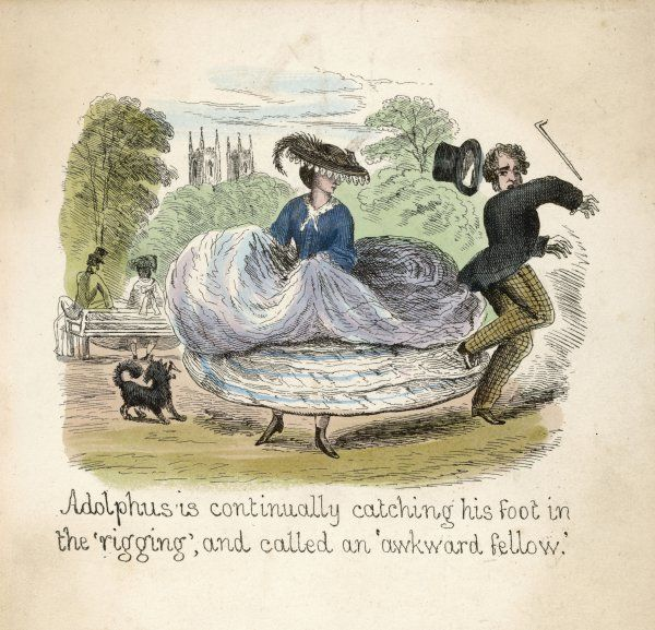 Adolphus becomes ensnared in the hoops of Kitty's crinoline forcing him to keep his distance. The beau of another crinoline wearer is forced to sit on the arm of a bench