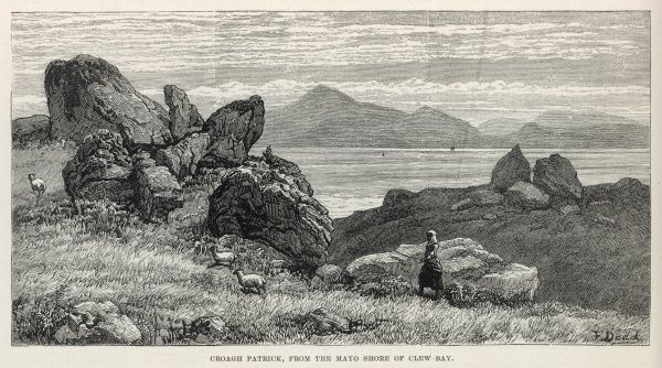 A scenic engraving showing Croagh Patrick in Ireland, from the Mayo shore of Clew Bay