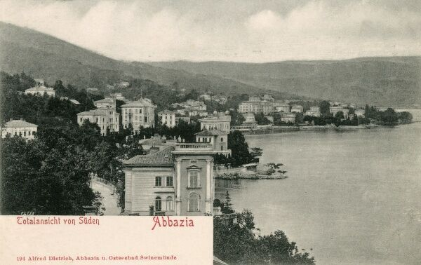 A 'complete view' from the south of Opatija (Abbazia), Croatia