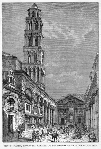 (formerly Spalatro) The campanile and the peristyle of the palace of Diocletian