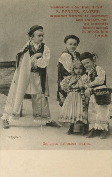 Advertising card for a costumier and fabric (embroidered, handmade) manufacturers from Zagreb, Croatia - this time showing off outfits for children