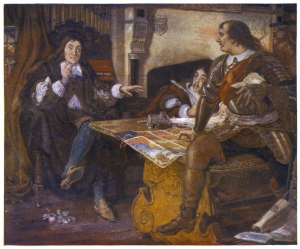 OLIVER CROMWELL Oliver Cromwell dictates to the poet John Milton, Latin Secretary to the Council, who latinizes foreign dispatches