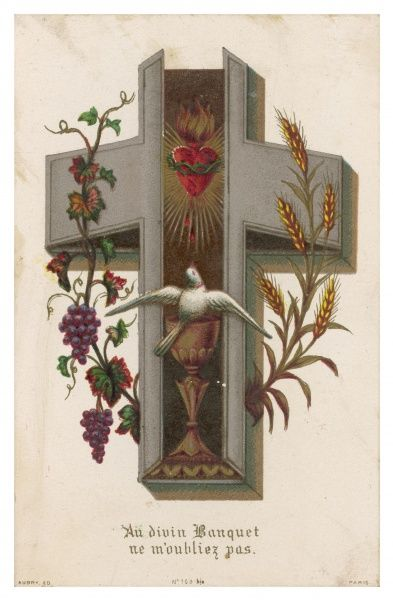 depicted as a coffin, containing a sacred heart and a chalice, with grapes symbolising wine, wheat representing bread, and a dove