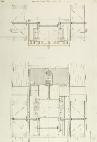Cross section of the Caledonia steam engines and plan of the engines Date: 1817