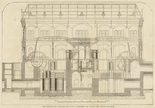 Engraving showing a cross-section of the machinery at the Metropolitan Main Drainage Works at Crossness, 1864. The machinery shown was used to pump away London's sewage