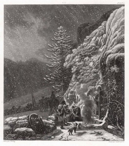Snow falls on Napoleon's army as it crosses the Alps via the Saint Bernard pass, on its way to deal with Italy