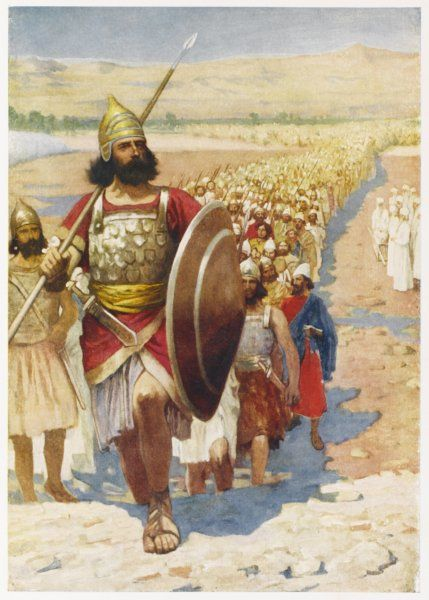 Joshua, who has taken over leadership of the Israelites from Moses, leads them across the river Jordan